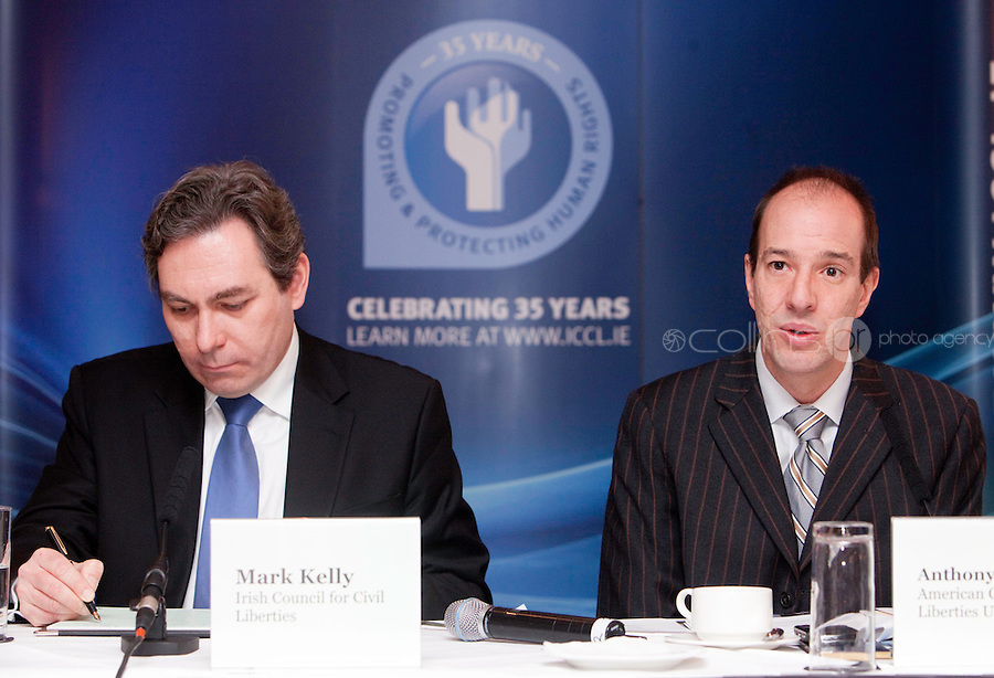"*** NO FEE PIC***.16/12/2011.(L to R).Mark Kelly Director Irish Council for Civil Liberties (ICCL),.Anthony Romero Executive Director American Civil Liberties Union (ACLU),.during the ""The Future of Human Rights Global Techniques Securing Local Impact"" international seminar at The Westbury Hotel, Dublin..Photo: Gareth Chaney Collins"