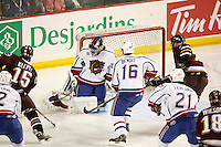 Jun 7, 2007; Hamilton, ON, CAN; Hamilton Bulldogs goalie (29) Carey Price blocks a shot on net in game five of the Calder Cup finals against the Hershey Bears at Copps Coliseum. The Bulldogs defeated the Bears 2-1 to win the Calder Cup. Mandatory Credit: Ron Scheffler