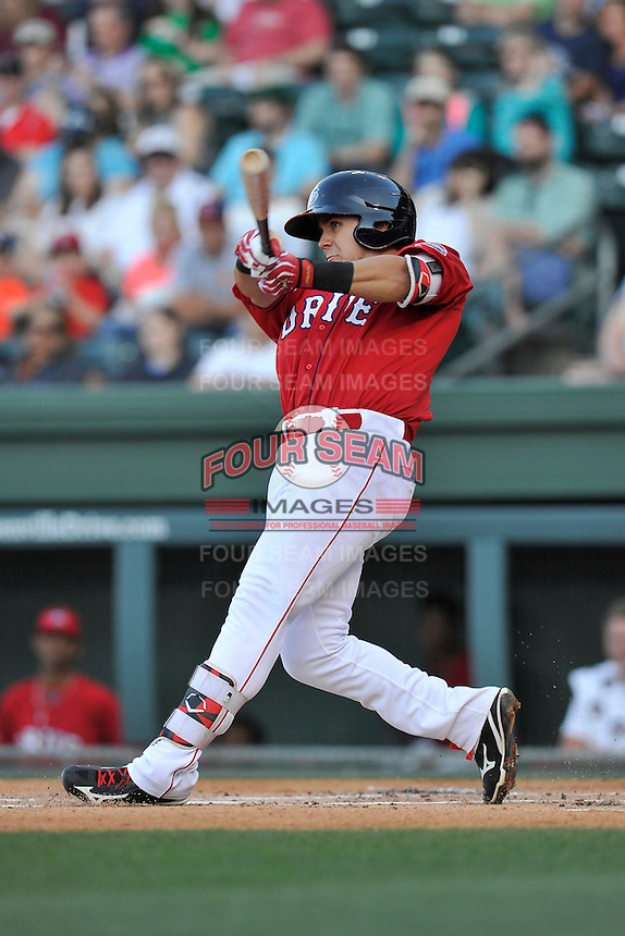 Third baseman Michael Chavis (11) of the Greenville Drive bats in a game against the Columbia Fireflies on Saturday, April 23, 2016, at Fluor Field at the West End in Greenville, South Carolina. Columbia won, 7-3. (Tom Priddy/Four Seam Images)