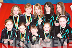 TOP TEAM: Members of the Aerials Gymnastics Club in Listowel who received their medals at the National Finals in Dublin were front l-r: Laura Sheehy, Leah Henry, Saoirse Galvin, Sarah Fahy and Bridget Sheehan. Back l-r: Alana O'Connor, Clodagh Walsh, Charlie Ann Walsh, Niamh Finucane and Elaine Bunyan..Missing from photo were Cianna Guiney, Aoife Clifford, Emma Sheehy, Sinead O'Hanlon, Siun Healy and Angelina Cox..   Copyright Kerry's Eye 2008