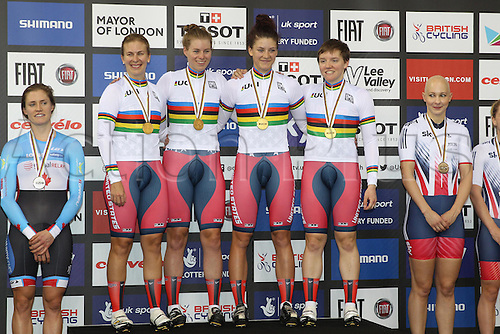 04.03.2016. Lee valley Velo Centre. London England. UCI Track Cycling World Championships Womens Team Pursuit.   Team United States<br /> HAMMER Sarah - CATLIN Kelly - DYGERT Chloe - VALENTE Jennifer