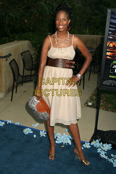 "SHONDRELLA AVERY.2006 LA Film Festival Screening of ""A Scanner Darkly"" at the John Anson Ford Amphitheatre, Los Angeles, California, USA..June 29th, 2006.Photo: Byron Purvis/AdMedia/Capital Pictures.Ref: BP/ADM.full length brown leather belt pink dress bag purse.www.capitalpictures.com.sales@capitalpictures.com.© Capital Pictures."
