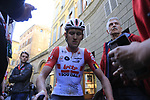 Tiesj Benoot (BEL) Lotto Soudal after crossing the finish line of Strade Bianche 2019 running 184km from Siena to Siena, held over the white gravel roads of Tuscany, Italy. 9th March 2019.<br /> Picture: Eoin Clarke | Cyclefile<br /> <br /> <br /> All photos usage must carry mandatory copyright credit (&copy; Cyclefile | Eoin Clarke)