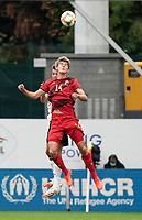 Belgium's Charles De Ketelelaere (14) heads the ball during a soccer game between the national teams Under21 Youth teams of Belgium and Germany on the 5th matday in group 9 for the qualification for the Under 21 EURO 2021 , on tuesday 8 th of September 2020  in Leuven , Belgium . PHOTO SPORTPIX.BE | SPP | SEVIL OKTEM