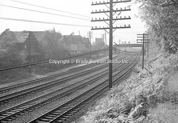 Pittsburgh PA:  View of an accident site for the Pennsylvania Railroad near Hawkins Station.  The station was located east of S. Braddock Avenue and Kenmore Avenue in the east end of Pittsburgh.
