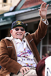 World War II veteran Jan Broda waves to the crowd at the annual Veteran's Day Parade in Virginia City, Nev., on Tuesday, Nov. 11, 2014.<br /> Photo by Cathleen Allison