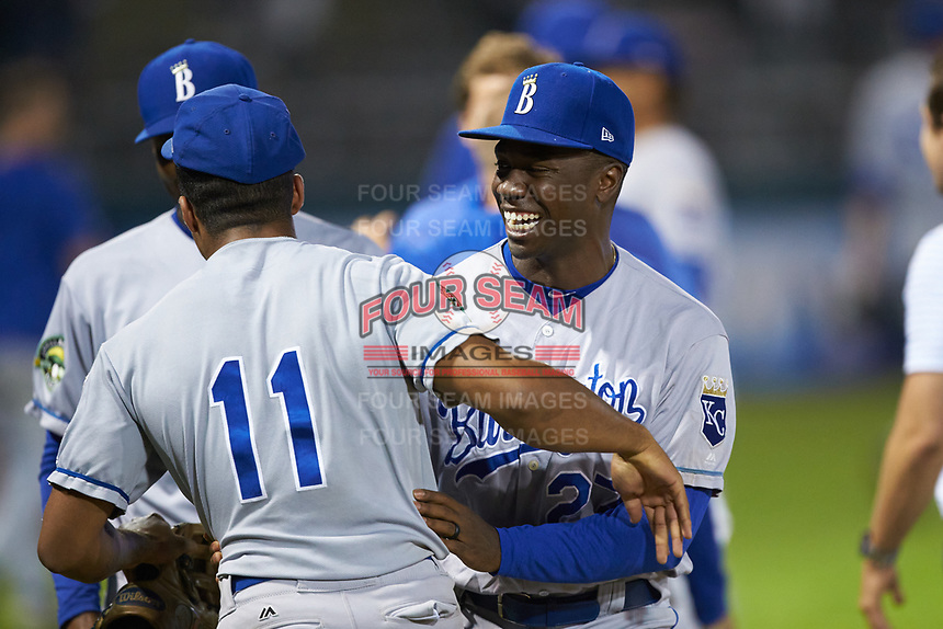 The Burlington Royals celebrate their Appalachian League playoff win over the Pulaski Yankees at Calfee Park on September 1, 2019 in Pulaski, Virginia. The Royals defeated the Yankees 5-4 in 17 innings. (Brian Westerholt/Four Seam Images)