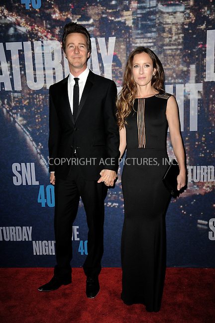WWW.ACEPIXS.COM<br /> February 15, 2015 New York City<br /> <br /> Edward Norton and  Shauna Robertson walking the red carpet at the SNL 40th Anniversary Special at 30 Rockefeller Plaza on February 15, 2015 in New York City.<br /> <br /> Please byline: Kristin Callahan/AcePictures<br /> <br /> ACEPIXS.COM<br /> <br /> Tel: (646) 769 0430<br /> e-mail: info@acepixs.com<br /> web: http://www.acepixs.com