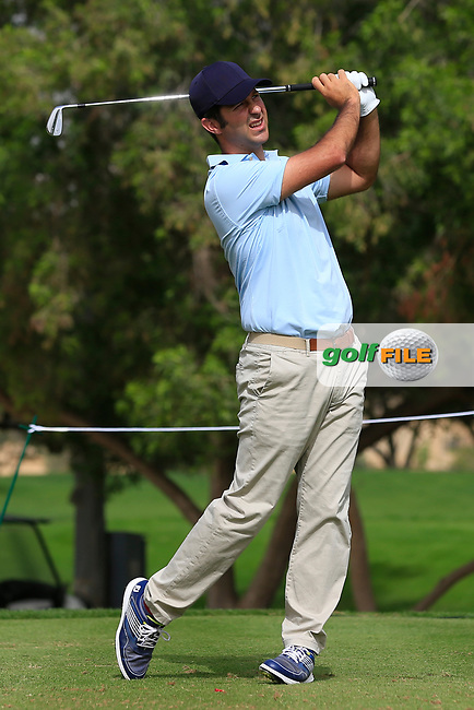 Jorge Campillo (ESP) on the 4th tee during Round 1 of the Omega Dubai Desert Classic, Emirates Golf Club, Dubai,  United Arab Emirates. 24/01/2019<br /> Picture: Golffile | Thos Caffrey<br /> <br /> <br /> All photo usage must carry mandatory copyright credit (&copy; Golffile | Thos Caffrey)