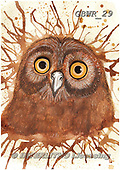 Simon, REALISTIC ANIMALS, REALISTISCHE TIERE, ANIMALES REALISTICOS, paintings+++++KatherineW_SplatterOwl,GBWR29,#a#, EVERYDAY