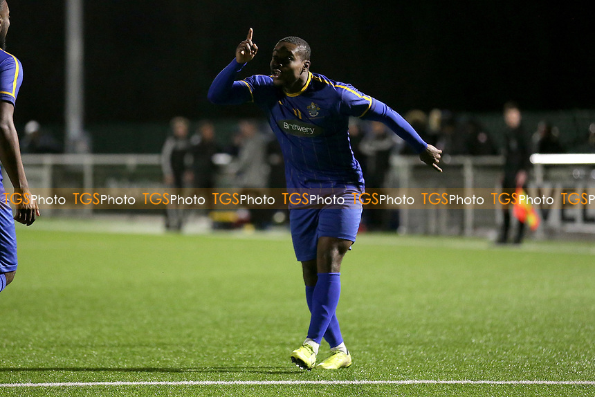 Mekhi Leacock McLeod scores the first goal for his team and celebrates during Romford vs Brentwood Town, BetVictor League North Division Football at Parkside on 11th February 2020