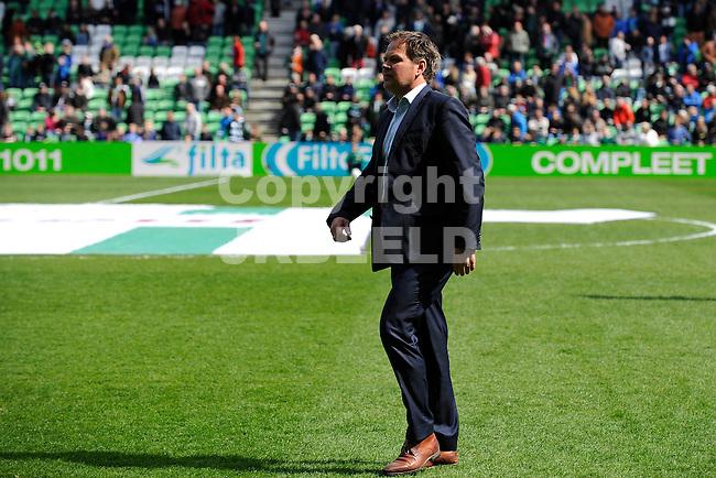 GRONINGEN - Voetbal, FC Groningen - SC Cambuur, Eredivisie, Euroborg, seizoen 2014-2015, 12-04-2015,  SC Cambuur trainer Henk de Jong