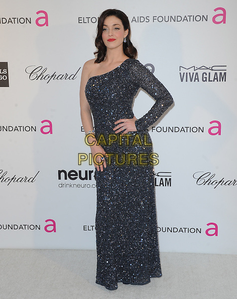 Sadie Alexandru.The 21st Annual Elton John AIDS Foundation Academy Awards Viewing Party held at The City of West Hollywood Park in West Hollywood, California, USA..February 24th, 2013.oscars full length blue black one shoulder sleeve sparkly beads beaded dress hand on hip                                     .CAP/DVS.©DVS/Capital Pictures.
