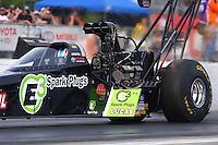 May 15, 2015; Commerce, GA, USA; NHRA top fuel driver Morgan Lucas during qualifying for the Southern Nationals at Atlanta Dragway. Mandatory Credit: Mark J. Rebilas-USA TODAY Sports