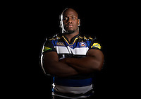 Beno Obano poses for a portrait in the 2015/16 home kit during a Bath Rugby photocall on September 8, 2015 at Farleigh House in Bath, England. Photo by: Patrick Khachfe / Onside Images