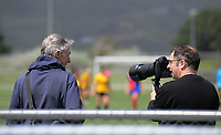 Photographers Mike Moran and Marty Melville chat during the National Women's League football match between Capital and WaiBoP at Petone Memorial Park in Petone, New Zealand on Monday, 28 Octoberber 2019. Photo: Dave Lintott / lintottphoto.co.nz