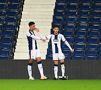 West Bromwich Albion U18's Morgan Rogers celebrates scoring his side's third goal with team-mate  Jamie Soule<br /> <br /> Photographer Andrew Vaughan/CameraSport<br /> <br /> FA Youth Cup Round Three - West Bromwich Albion U18 v Lincoln City U18 - Tuesday 11th December 2018 - The Hawthorns - West Bromwich<br />  <br /> World Copyright &copy; 2018 CameraSport. All rights reserved. 43 Linden Ave. Countesthorpe. Leicester. England. LE8 5PG - Tel: +44 (0) 116 277 4147 - admin@camerasport.com - www.camerasport.com