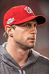 14 October 2016: Washington Nationals starting pitcher Max Scherzer in the dugout during Game 5 of the NLDS against the Los Angeles Dodgers at Nationals Park in Washington, DC. The Dodgers edged out the Nationals 4-3, to take Game 5 of the Series, 3 games to 2, and move on to the National League Championship Series against the Chicago Cubs. Mandatory Credit: Ed Wolfstein Photo *** RAW (NEF) Image File Available ***