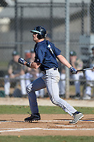 Upper Iowa University Peacocks outfielder Tyler Adams (5) during a game against Slippery Rock University at Frank Tack Field on March 14, 2014 in Clearwater, Florida.  Slippery Rock defeated Upper Iowa 14-9.  (Mike Janes/Four Seam Images)