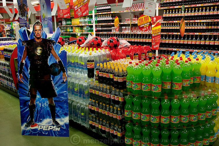 A Pepsi commercial displays an image of British footballer David Beckham in a supermarket in the city of Reykjavik, Iceland.