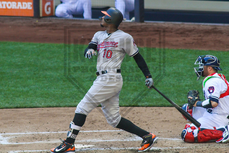 Baltimore Orioles outfielder Adam Jones (10) during a Major League Baseball game against the Milwaukee Brewers on July 3, 2017 at Miller Park in Milwaukee, Wisconsin.  Milwaukee defeated Baltimore 8-1. (Brad Krause/Krause Sports Photography)