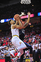 Melo Trimble of the Terrapins attacks the basket. Maryland defeated Georgetown 75-71 during a game at Xfinity Center in College Park, MD on Wednesday, November 17, 2015.  Alan P. Santos/DC Sports Box