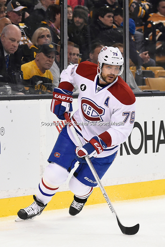 February 8, 2015 - Boston, Massachusetts, U.S. - Montreal Canadiens defenseman Andrei Markov (79) in game action during the NHL game between the Montreal Canadiens and the Boston Bruins held at TD Garden in Boston Massachusetts. The Canadiens defeated the Bruins 3-1 in regulation time. Eric Canha/CSM