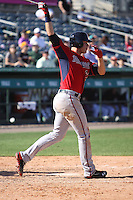 Max Kepler (67) catcher of the Minnesota Twins at bat during a Grapefruit League Spring Training game at the Roger Dean Complex on March 4, 2014 in Jupiter, Florida. Miami defeated Minnesota 3-1. (Stacy Jo Grant/Four Seam Images)