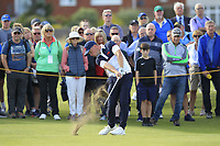 Alex Fitzpatrick (GB&I) on the 18th during Day 2 Singles at the Walker Cup, Royal Liverpool Golf CLub, Hoylake, Cheshire, England. 08/09/2019.<br /> Picture Thos Caffrey / Golffile.ie<br /> <br /> All photo usage must carry mandatory copyright credit (© Golffile | Thos Caffrey)