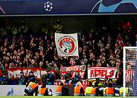 25th February 2020; Stamford Bridge, London, England; UEFA Champions League Football, Chelsea versus Bayern Munich; Bayern Munich fans in the away stand protesting against UEFA with a giant banner