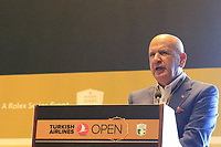 Fikret Ozturk, Honorary Prwsident of Regnum Carya, speaks at a press conference during Wednesday's Pro-Am of the 2018 Turkish Airlines Open hosted by Regnum Carya Golf &amp; Spa Resort, Antalya, Turkey. 31st October 2018.<br /> Picture: Eoin Clarke | Golffile<br /> <br /> <br /> All photos usage must carry mandatory copyright credit (&copy; Golffile | Eoin Clarke)