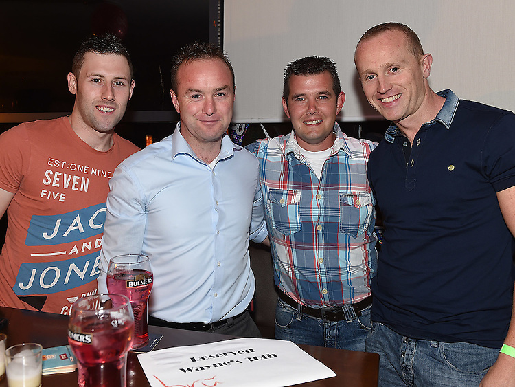 Wayne Hurley celebrating his 30th birthday in Brú with workmates Eugene Branigan, Andy O'Brien and Robert Lynam.  Photo:Colin Bell/pressphotos.ie