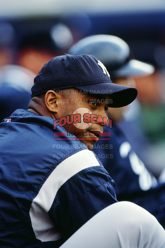 Orlando Hernandez of the New York Yankees during a game against the Anaheim Angels circa 1999 at Angel Stadium in Anaheim, California. (Larry Goren/Four Seam Images)