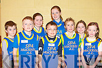 GOOD FUN: The Spa Muckross AC team having a great time at the Kerry A.I.I. indoor meet at the CBS The Green gym, Tralee on Saturday l-r: Mark Cooper, Tristan O'Donoghue, Claire O'Brien, Peter O'Sullivan, Christine Cooper, Ella Canavan, Shona O'Brien and Ruth Courtney.