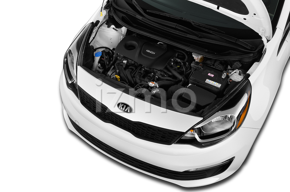 Car Stock 2016 KIA Rio LX-AT 4 Door Sedan Engine  high angle detail view