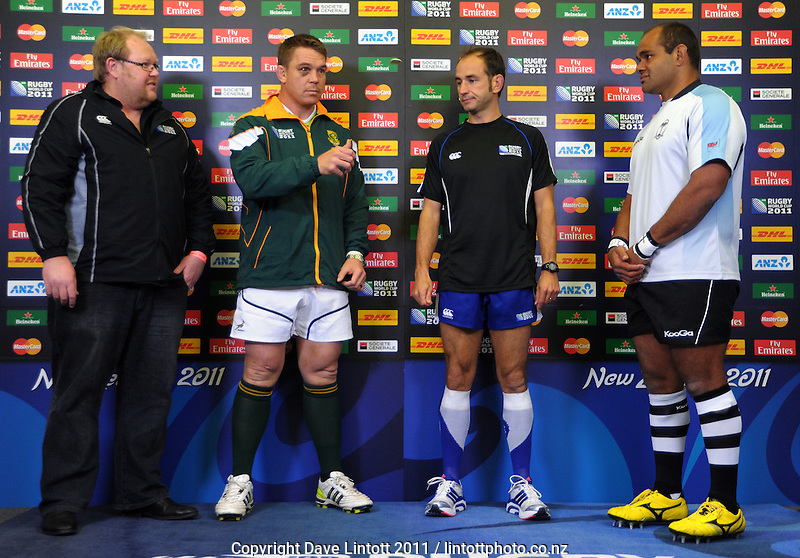 The coin toss is taken the South Africa versus Fiji pool D match of the 2011 IRB Rugby World Cup at Wellington Regional Stadium, Wellington, New Zealand on Saturday, 17 September 2011. Photo: Dave Lintott / lintottphoto.co.nz
