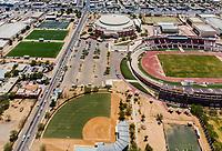 Vista aerea de Complejo deportivo de la Comisión Estatal de Deporte, CODESON en Hermosillo, Sonora....<br /> Estadio Héroe de Nacozari. <br /> CUM. <br /> Estadio de béisbol Estadio Fernando M. Ortiz<br /> Campo De Tiro Con Arco.<br /> Capos Deportivos de la Liga Oxxo.<br /> Boulevard o calle Periferico Norte<br /> Pasto Sintetico. <br /> <br /> Photo: (NortePhoto / LuisGutierrez)<br /> <br /> ...<br /> keywords: