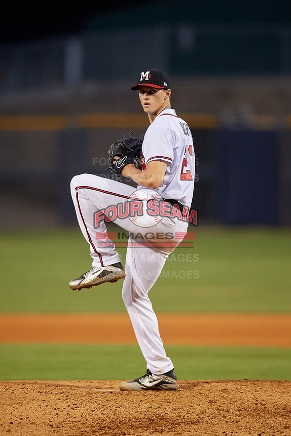 Mississippi Braves starting pitcher Kyle Wright (23) delivers a pitch during a game against the Mobile BayBears on May 7, 2018 at Trustmark park in Pearl, Mississippi.  Mobile defeated Mississippi 5-0.  (Mike Janes/Four Seam Images)