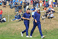 Rory McIlroy and Ian Poulter (Team Europe) on the 3rd during the Friday Foursomes at the Ryder Cup, Le Golf National, Ile-de-France, France. 28/09/2018.<br /> Picture Thos Caffrey / Golffile.ie<br /> <br /> All photo usage must carry mandatory copyright credit (&copy; Golffile | Thos Caffrey)