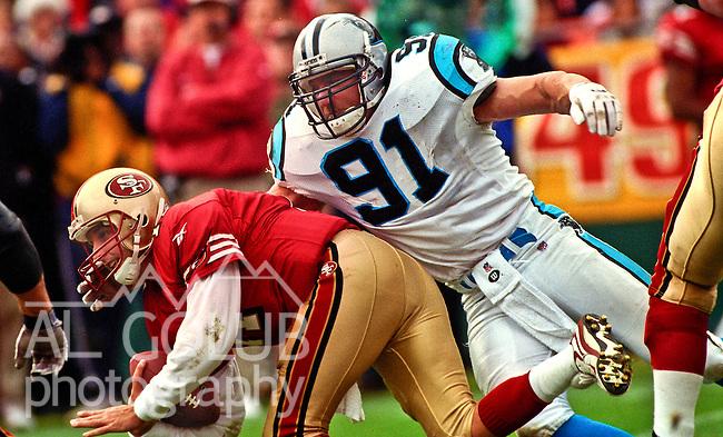 San Francisco 49ers vs. Carolina Panthers at Candlestick Park Sunday, November 8, 1998.  49ers beat Panthers  25-23.  Carolina Panthers linebacker Kevin Greene (91) sacks San Francisco 49ers quarterback Ty Detmer (11).