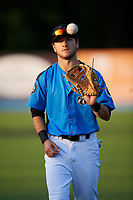 Hudson Valley Renegades second baseman Garrett Giovannelli (4) warms up before a game against the Tri-City ValleyCats on August 24, 2018 at Dutchess Stadium in Wappingers Falls, New York.  Hudson Valley defeated Tri-City 4-0.  (Mike Janes/Four Seam Images)