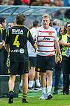 Solna 2013-08-06 Football Friendly Game , AIK - Manchester United FC :  <br /> Manchester United manager David Moyes och AIK 4 Nils-Eric Johansson tackar varandra efter matchen <br /> (Foto: Kenta J&ouml;nsson) Nyckelord: