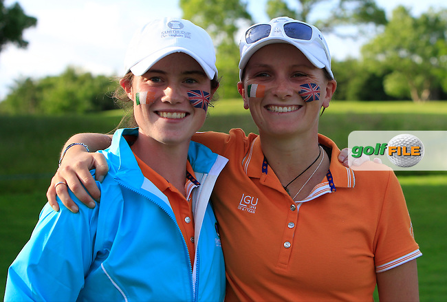 Leona Maguire and Charlotte Thomas win their game during the Saturday Afternoon Fourballs of the 2016 Curtis Cup at Dun Laoghaire Golf Club on Saturday 11th June 2016.<br /> Picture:  Golffile   Thos Caffrey
