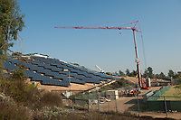 Photo of the solar array construction beneath Mt. Fiji, November 21, 2012.<br /> (Photo by Marc Campos, Occidental College Photographer)
