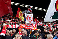 Fans in The Kop end brandish flags, scarves and banners as they cheer Liverpool out onto the pitch at Anfield <br /> <br /> Photographer Rich Linley/CameraSport<br /> <br /> The Premier League - Liverpool v Manchester City - Sunday 7th October 2018 - Anfield - Liverpool<br /> <br /> World Copyright &copy; 2018 CameraSport. All rights reserved. 43 Linden Ave. Countesthorpe. Leicester. England. LE8 5PG - Tel: +44 (0) 116 277 4147 - admin@camerasport.com - www.camerasport.com
