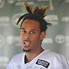 Robby Anderson #11 of the New York Jets speaks with the media after practice at the Atlantic Health Jets Training Center in Florham Park, NJ on Saturday, July 28, 2018.