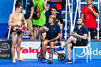 Picture by Rogan Thomson/SWpix.com - 16/07/2017 - Diving - Fina World Championships 2017 -  Duna Arena, Budapest, Hungary - Dan Goodfellow and coaches Jane Figueiredo and Mark Holdsworth of Great Britain look on during practice.
