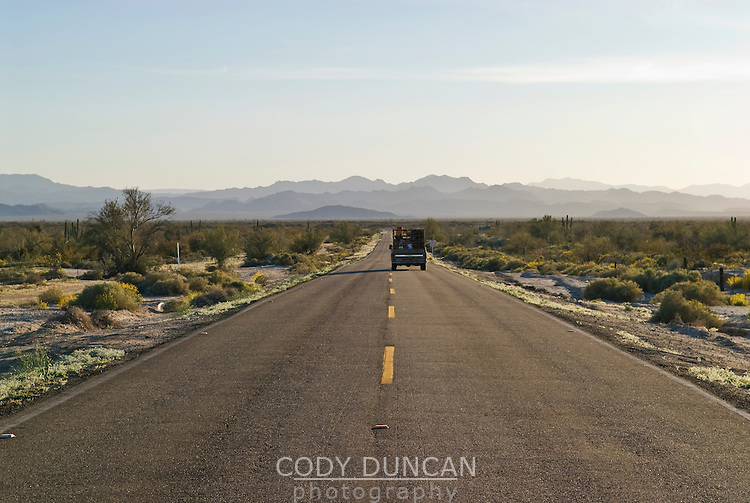 Truck driving north on Highway 5 south of San Felipe, Baja California, Mexico
