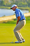 30 August 2009: Steve Stricker reacts to a missed putt on the 18th hole during the final round of The Barclays PGA Playoffs at Liberty National Golf Course in Jersey City, New Jersey.