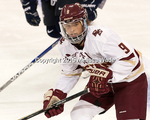 Tori Sullivan (BC - 9) - The Boston College Eagles defeated the visiting UConn Huskies 4-0 on Friday, October 30, 2015, at Kelley Rink in Conte Forum in Chestnut Hill, Massachusetts.
